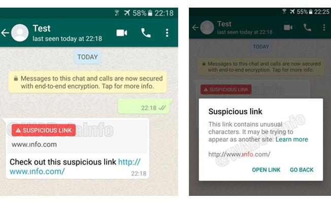 Whatsapp'a 'Şüpheli Bağlantı' Uyarı Özelliği Geliyor!