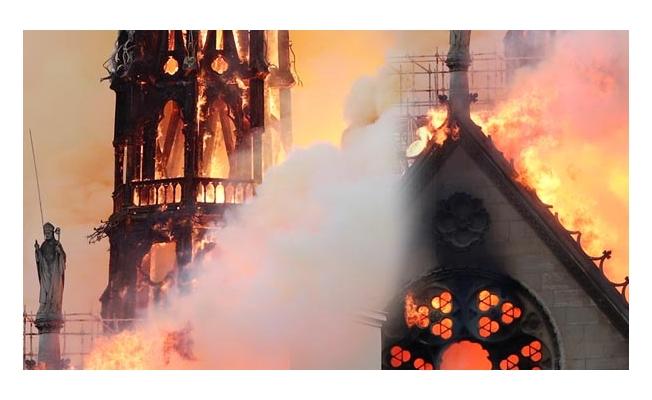 Başkent Paris'de tarihi Notre Dame Katedrali'nde yangın..