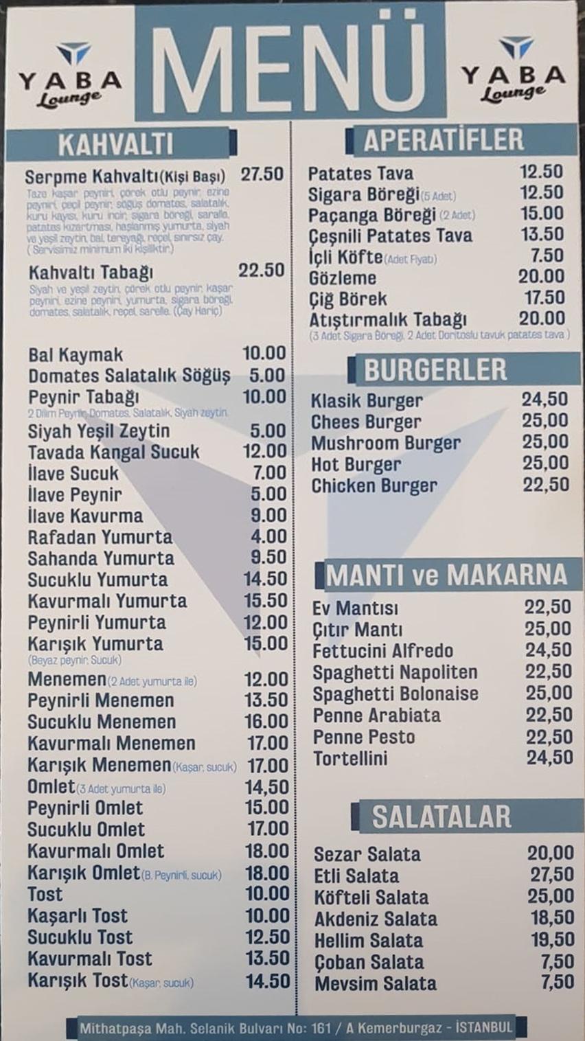 Yaba Lounge Menü